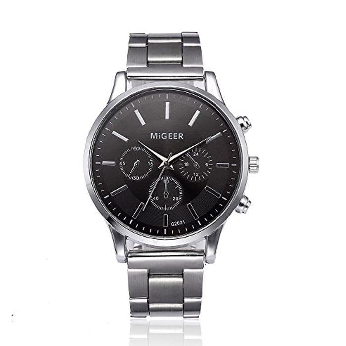 Mens Crystal Stainless Steel Watch