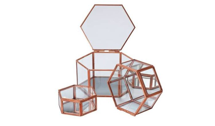 Rose Gold Edged Glass Trinket Boxes - Set of 3 Only £9.45