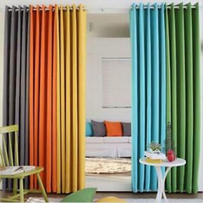 Semi Blackout Pair Plain Curtains Eyelet - LOTS of Colours