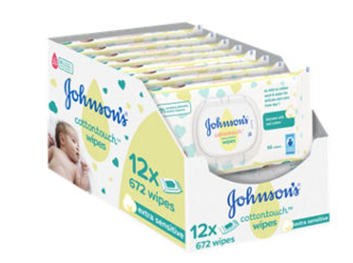 Johnson's Cottontouch Extra Sensitive Wipes 12 Pack Down From £10 to £6.5
