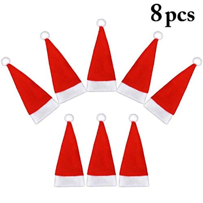 Fascigirl 8 Pieces Christmas Hat Shaped Knifes Forks Holder