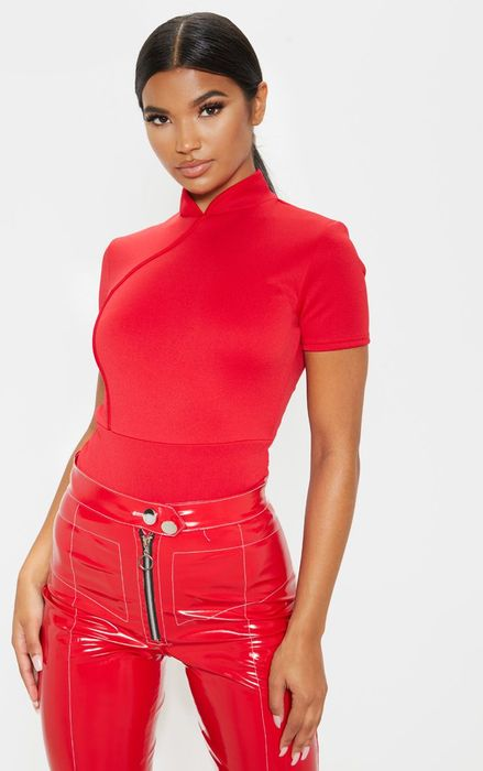 Red High Neck Bodysuit