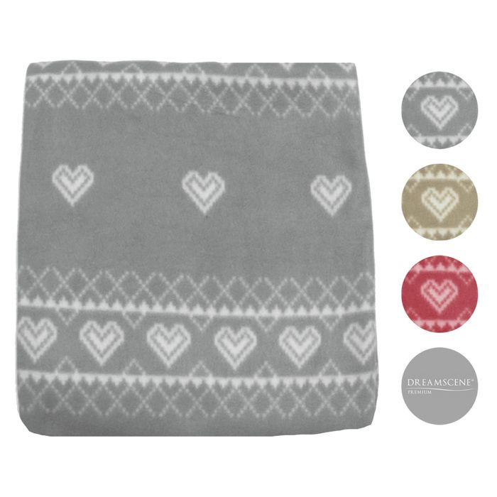 Nordic Fleece Throw 125 X 150cm Grey or Red.