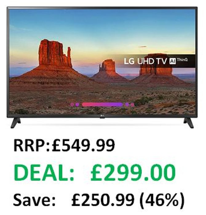 ALMOST 1/2 PRICE! LG 49-Inch 4K UHD HDR Smart LED TV with Freeview