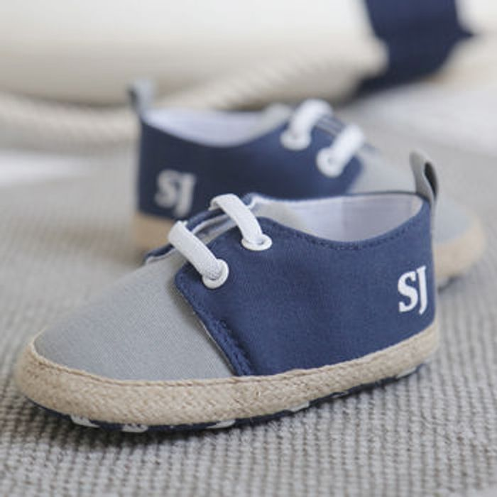 Personalised Navy Blue Lace up Espadrilles