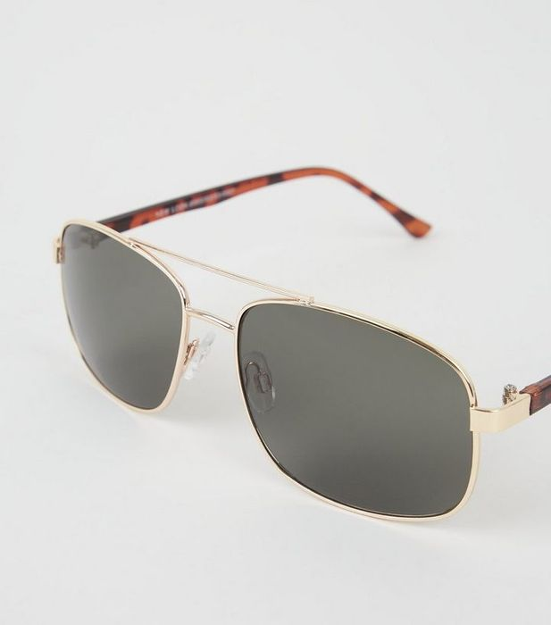 New Look Gold Square Frame Pilot Sunglasses