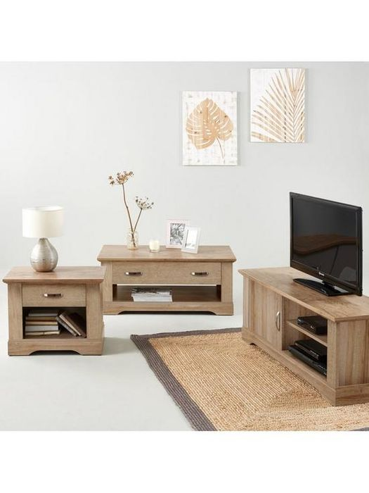 *SAVE £200* Cornwall 3 Piece Set TV Unit Coffee Table and Lamp Table Oak Effect
