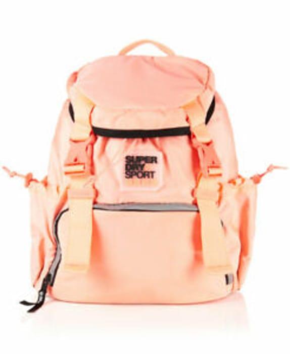 Womens Superdry Super Sport Backpack Fluro Coral