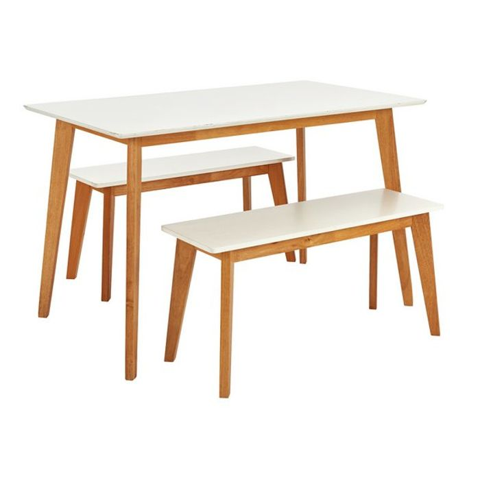 Argos Home Harlow Dining Table and Bench Set - White