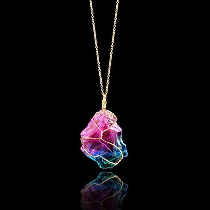 Rainbow Stone Pendant Necklace - Natural Crystal Rock Gold Plated Quartz