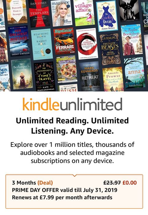 kindle unlimited free trial 3 month