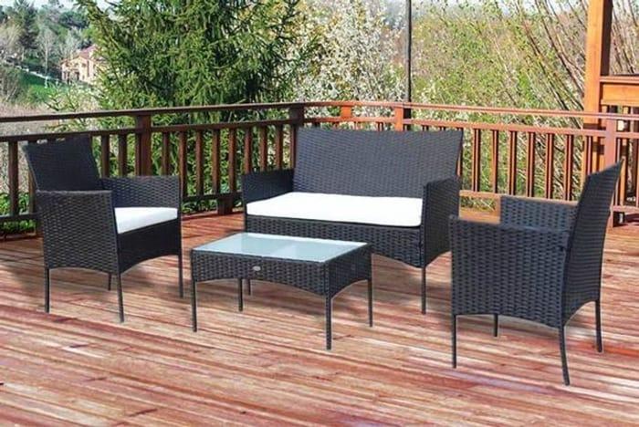 4-Seater Rattan Garden Furniture Set