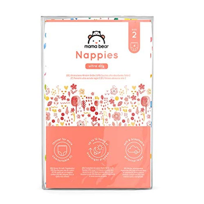 Amazon Mama Bear Ultra Dry Nappies - Size 2 (3-6 Kg) - with Channels - 4 Nappies