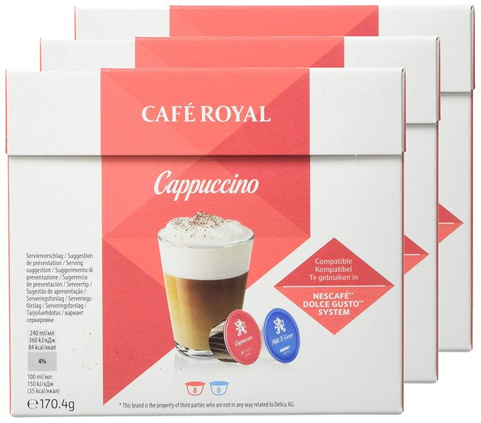 3 X Cafe Royal Cappuccino Coffee Pods (For Dolce Gusto System) PRIME DAY DEAL