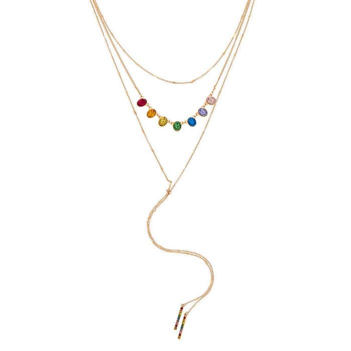 Gold Rainbow Stone Multi Strand Necklace