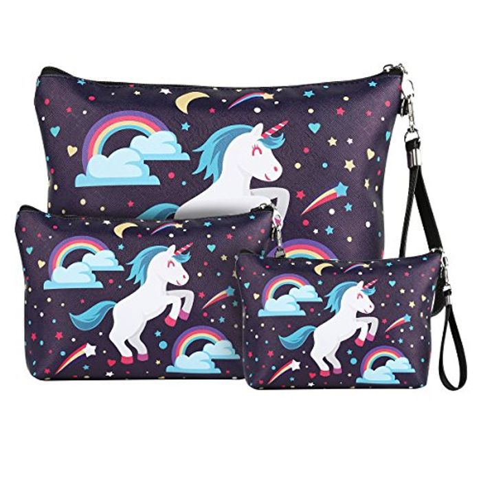 Prime Day - 3 X Unicorn Cosmetic Bags / Pencil Cases £7.49