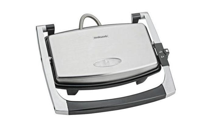 Cookworks 2 Portion Panini Grill - Stainless Steel Only £7.99