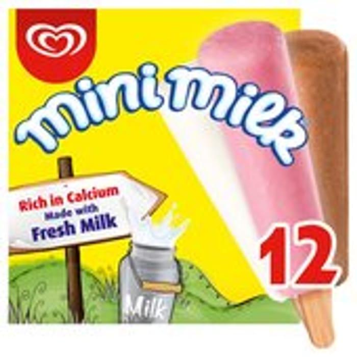 Mini Milk Vanilla, Strawberry & Chocolate Ice Cream Lollies 12 X 35ml