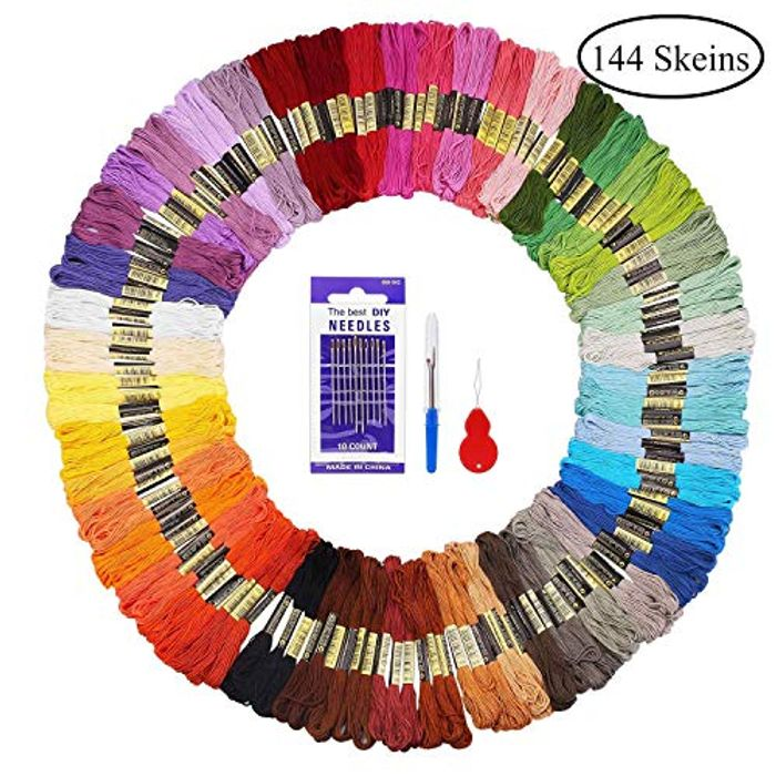 Fuyit Embroidery Threads 144 Skeins with 3 Free Embroidery Tools Rainbow