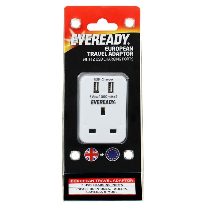 Eveready European Travel Adaptor with USB Ports