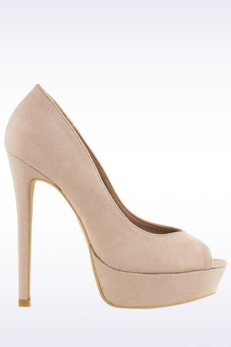 Cream Platform Peep Toe Heels