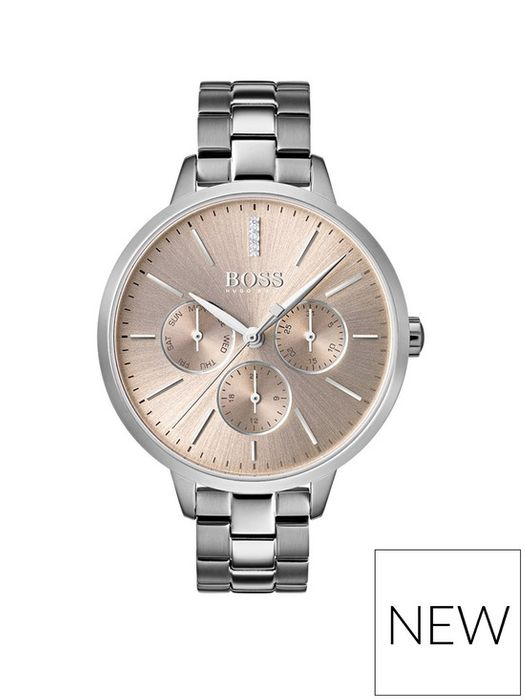 Boss Carnation Gold Sunray Dial Stainless Steel Bracelet Ladies Watch