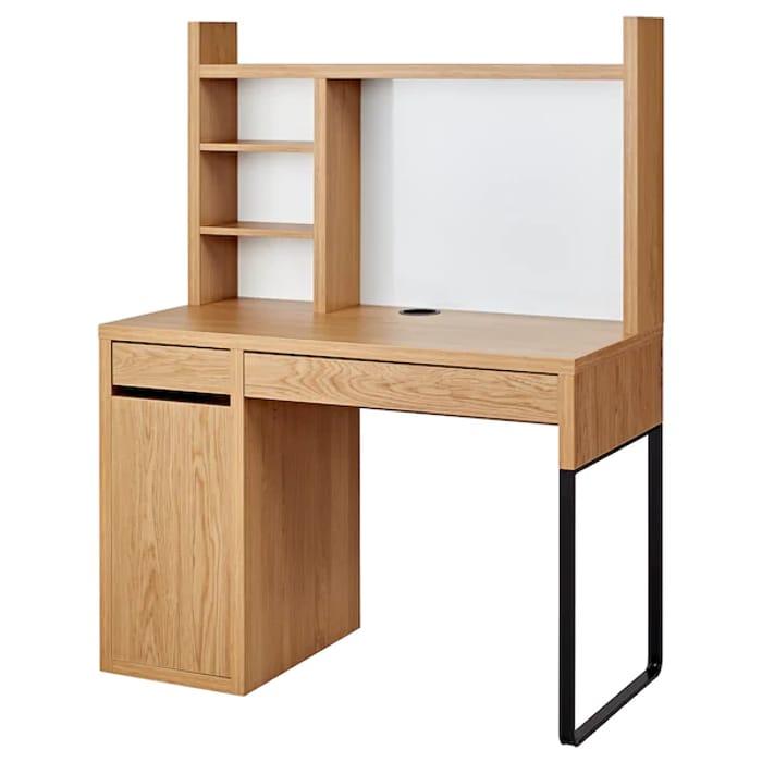 MICKE Workstation, Oak Effect, 105x50 Cm Only £69