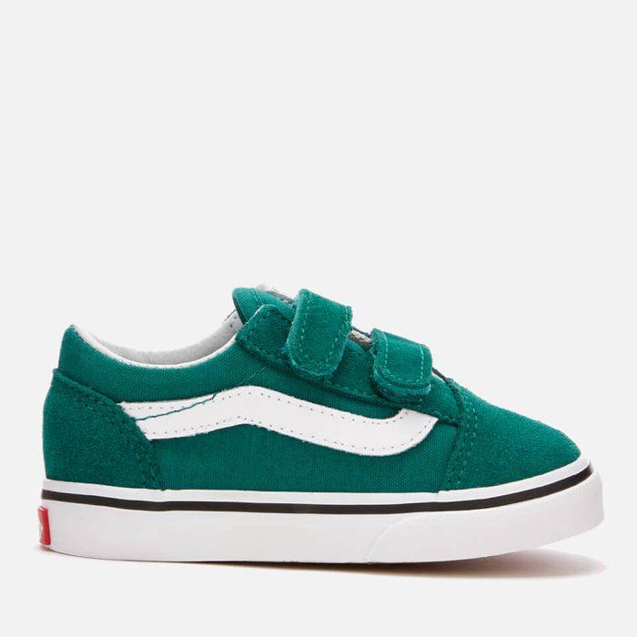 Vans Toddlers' Old Skool Velcro Trainers - Quetzal Green/True White