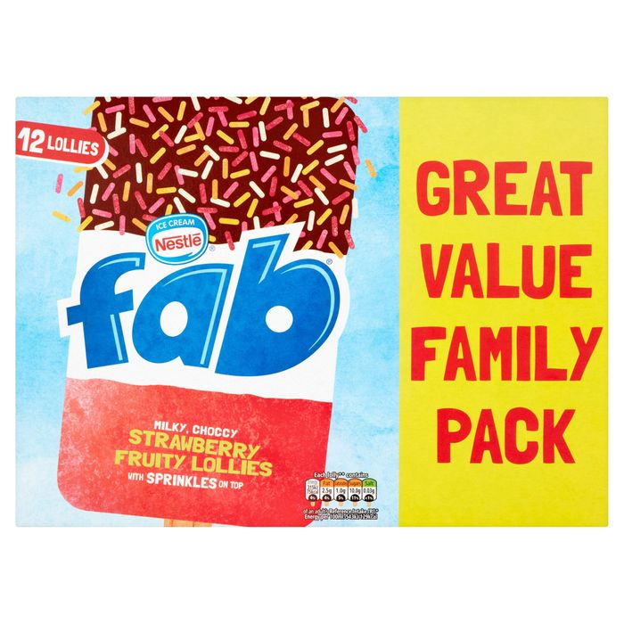 Fab Strawberry Fruity Lollies 12 X 58ml HALF PRICE