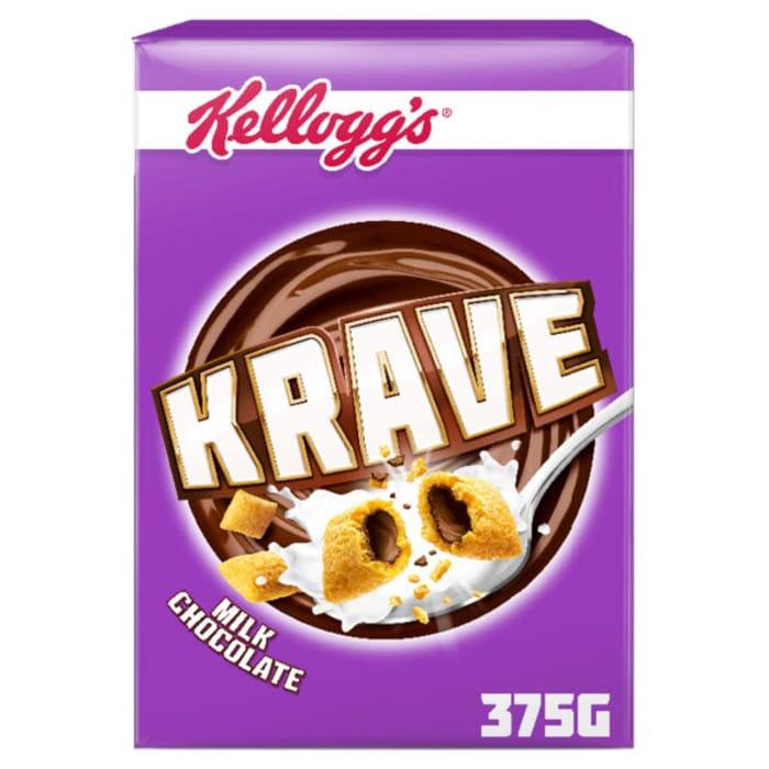 Kelloggs Krave Milk Chocolate 375g BBE 19/7/19