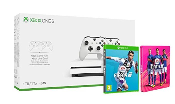Xbox One S 1TB Two-Controller Console + FIFA 19 + FIFA 19 Steelbook Only £281.45