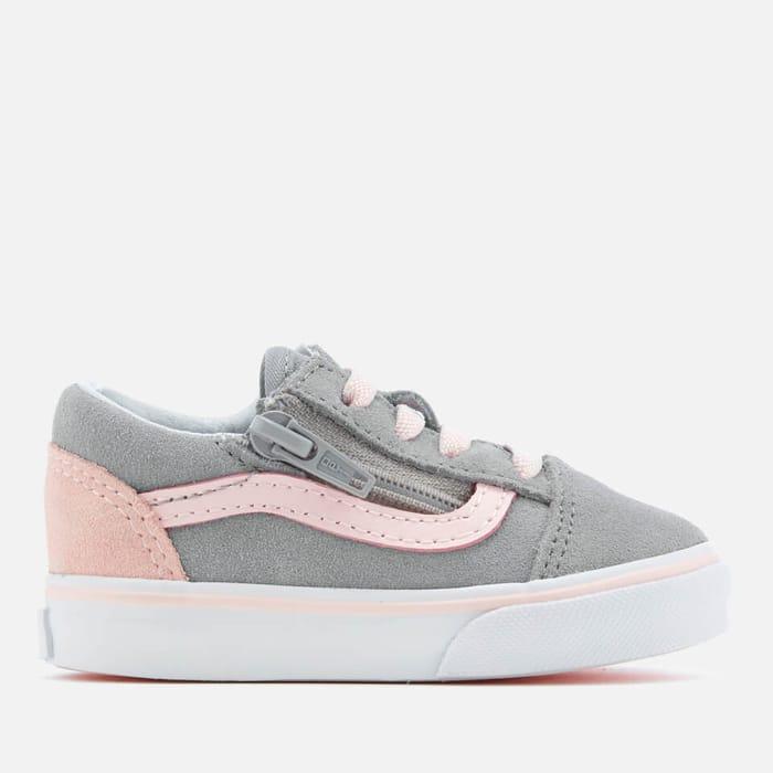 Vans Toddlers' Old Skool Zip Suede Trainers - Alloy/Heavenly Pink/True White