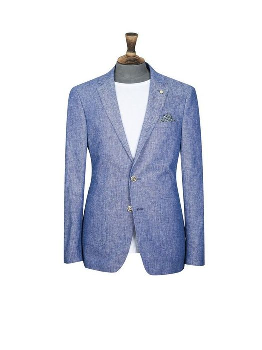 Blue Linen Blend Nep Blazer