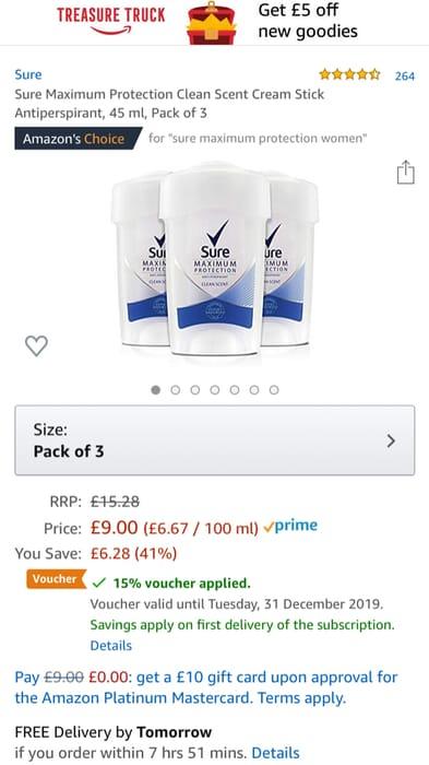 Pack of 3 Sure Maximum Protection Deodorant Cream Stick