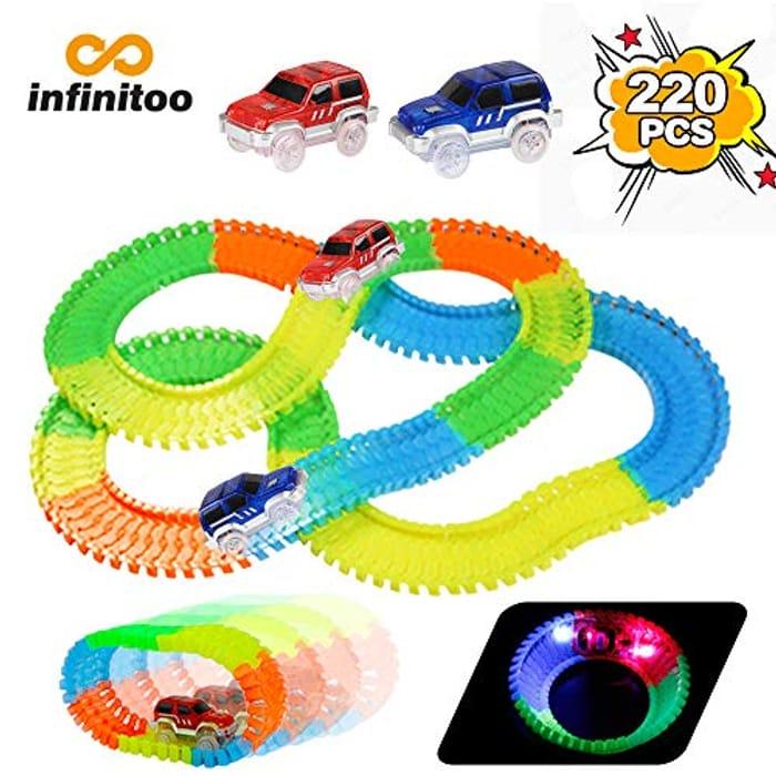 Infinitoo 220 Pcs Neon Parts Magic Glow Tracks Racer Set