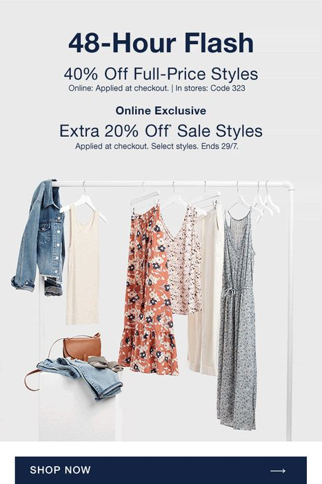 Gap - We're Giving You a 2-Day Deal 40% off FULL PRICES + EXTRA 20% off SALES