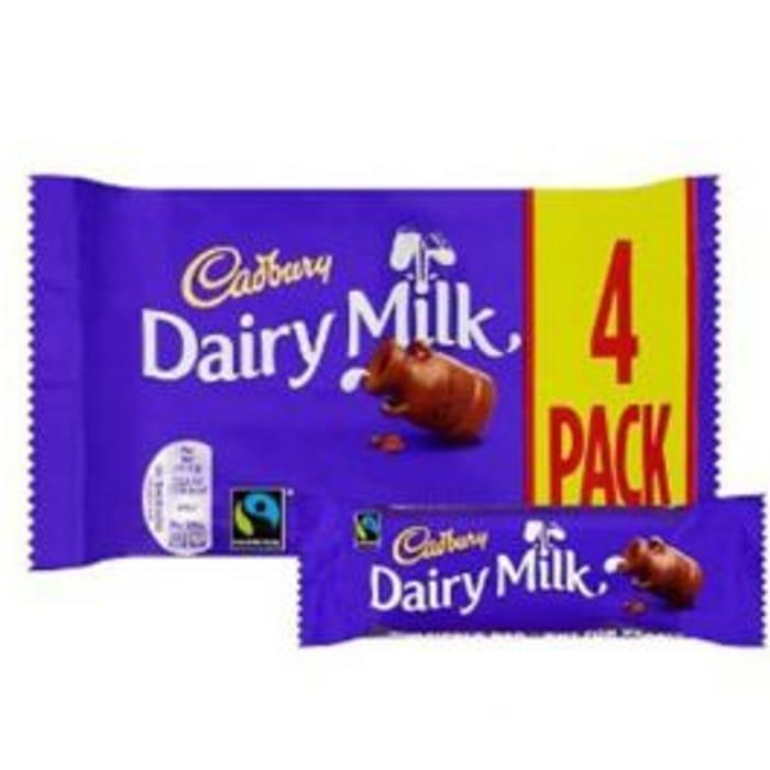Cadbury Dairy Milk 4 X 32.5g £1 at Poundshop.co.uk