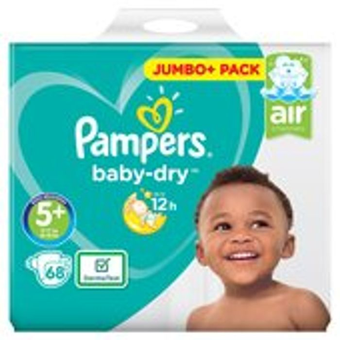 Pampers Baby-Dry Size 5+ Nappies, 12-17kg, Breathable Dryness 68 per Pack
