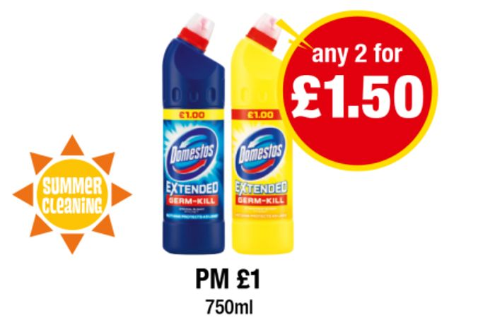 Domestos Regular Blue, Regular Citrus 750ml Any 2 for £1.50