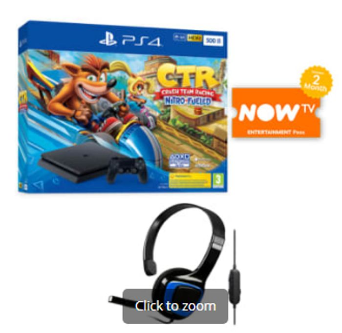 500GB PLAYSTATION 4 with CRASH TEAM RACING+GAMEWARE CHAT HEADSET Only £229