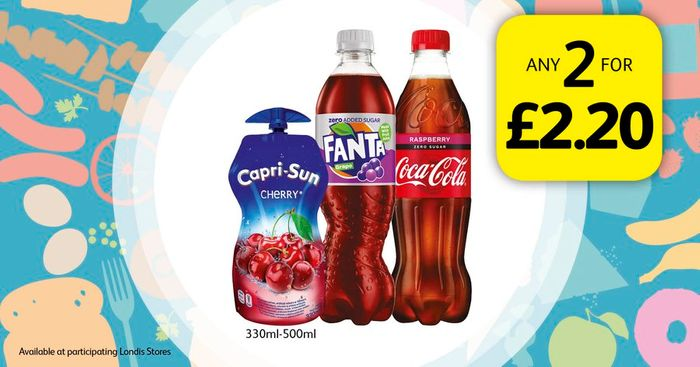 Selected Drinks Any 2 for £2.20 330ml-500ml