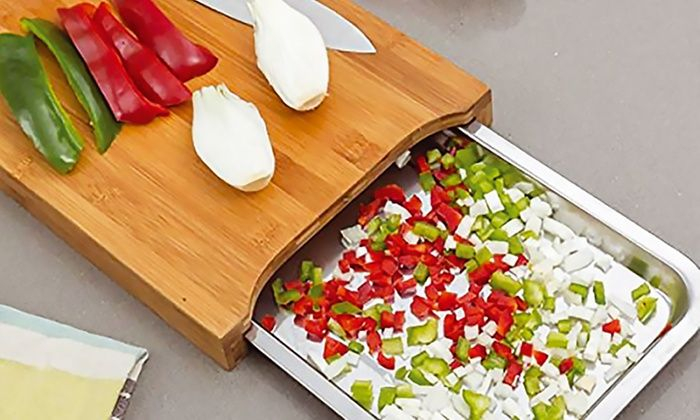 Bamboo Chopping Board With Stainless Steel Tray 9 98 At Groupon Latestdeals Co Uk
