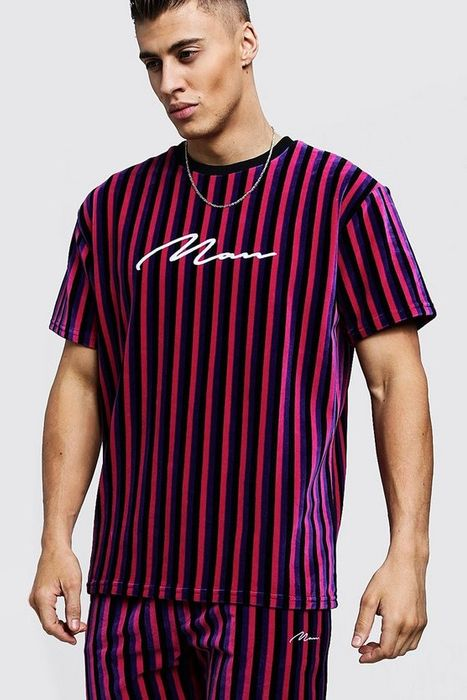 Man Signature Velour Stripe T-Shirt & Short Set