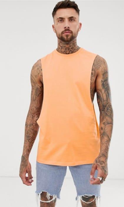 ASOS DESIGN Longline Sleeveless T-Shirt with Extreme Dropped Armhole in Orange