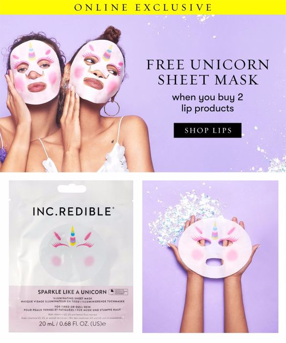 Free Unicorn Sheet Mask When You Buy 2 Lip Products