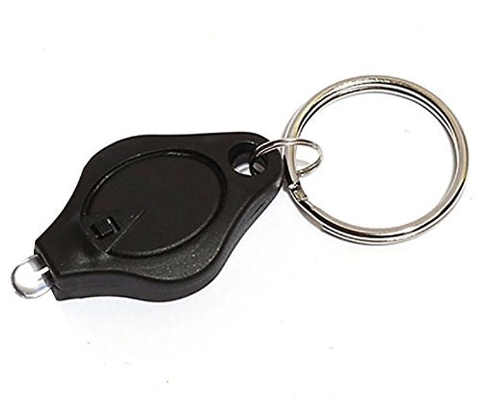 Black Mini LED Light Super Bright Flashlight Keychain Key Ring