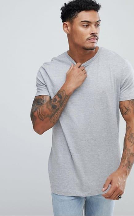 ASOS DESIGN Longline T-Shirt with Crew Neck in Grey
