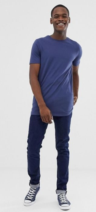 ASOS DESIGN Tall Longline T-Shirt with Crew Neck in Navy