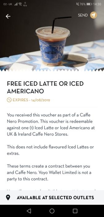 Free Iced Latte or Iced Americano
