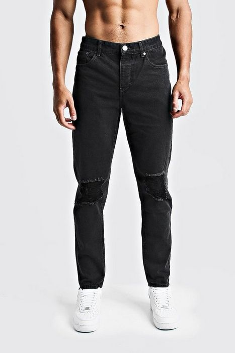 Tapered Fit Denim Jeans with Ripped Knee